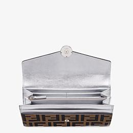 FENDI LANGES PORTEMONNAIE - Portemonnaie aus Leder in der Farbe Silber - view 3 thumbnail