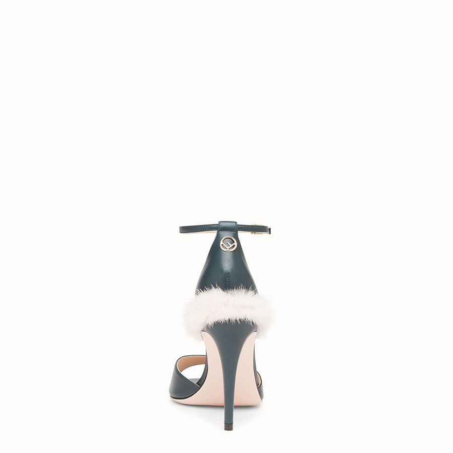 FENDI SANDALS - Green leather high sandals - view 3 detail