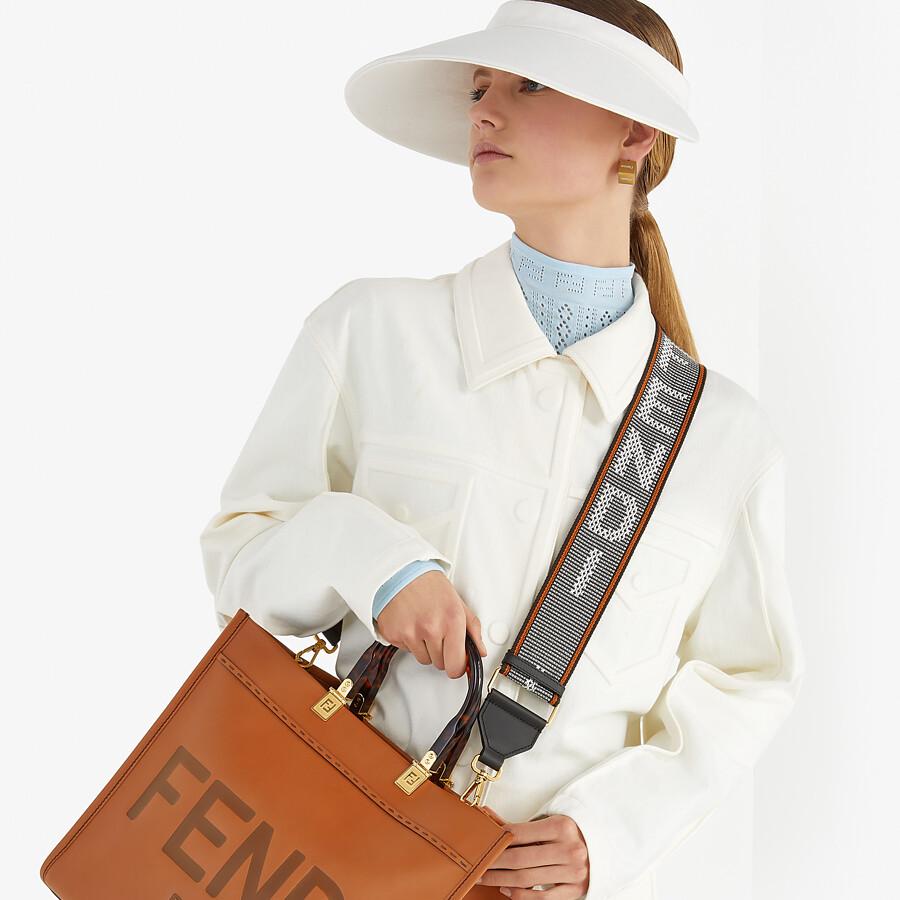 FENDI FENDI SUNSHINE MEDIUM - Brown leather shopper - view 2 detail