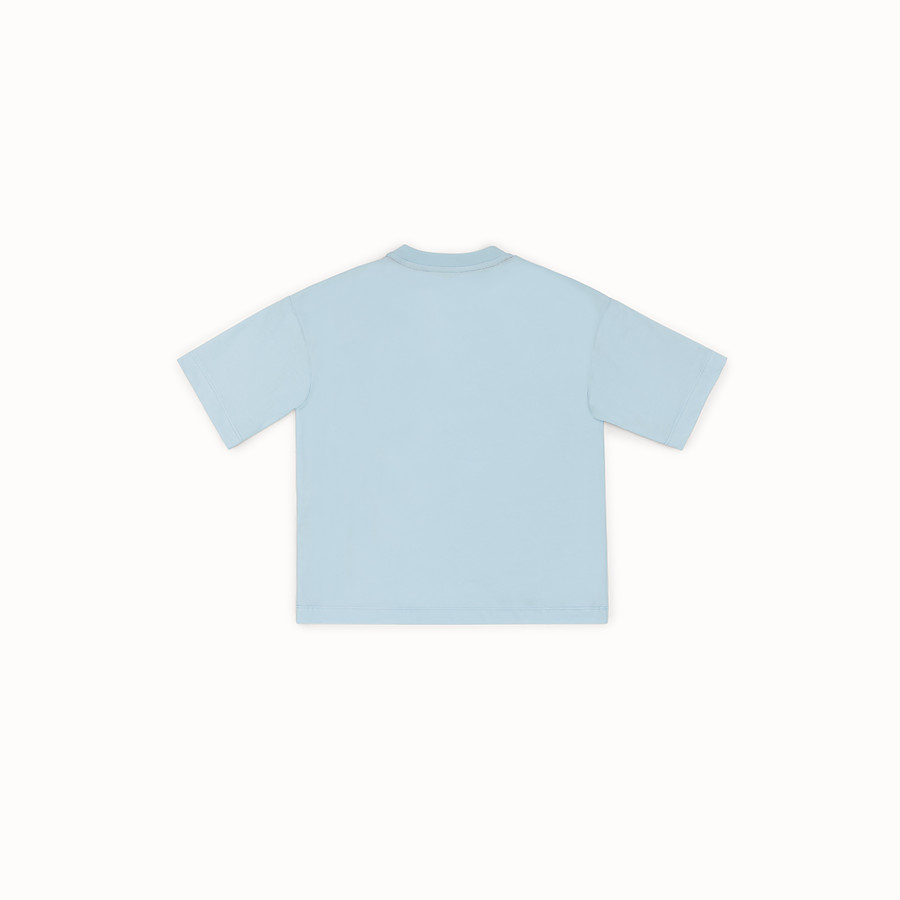 FENDI T-SHIRT - Light blue cotton T-shirt - view 2 detail