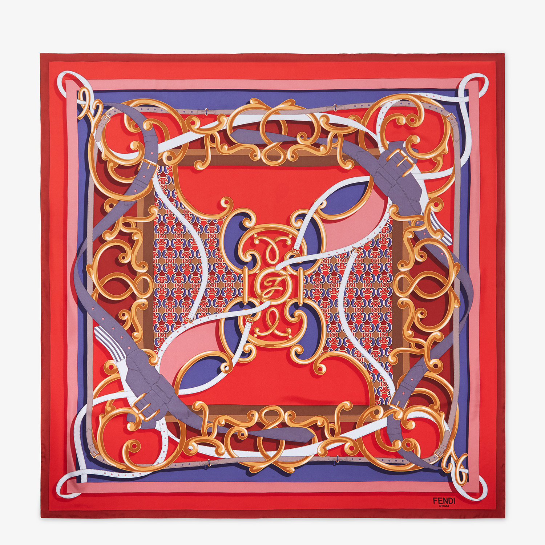 FENDI GRILLE ROYALE FOULARD - Red silk foulard - view 1 detail