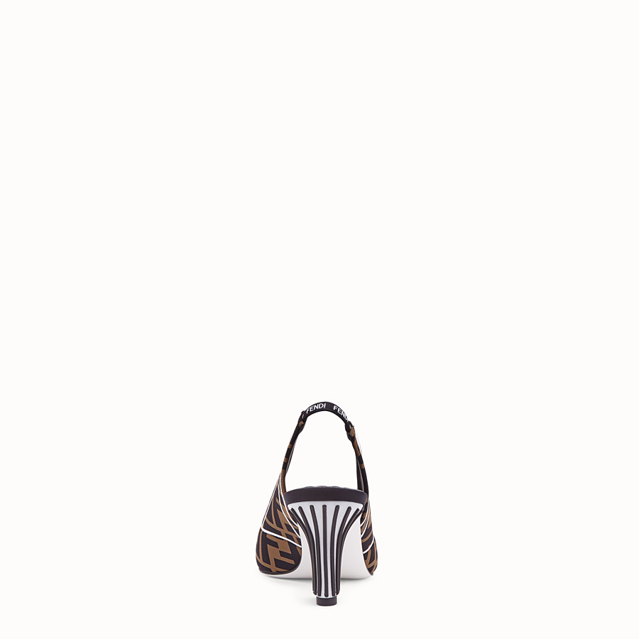 FENDI COURT SHOES - Slingbacks in brown fabric - view 3 detail