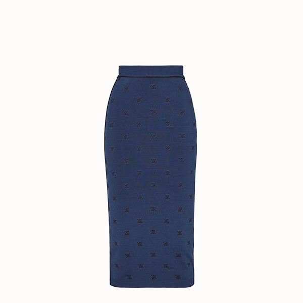 FENDI SKIRT - Blue viscose skirt - view 1 small thumbnail