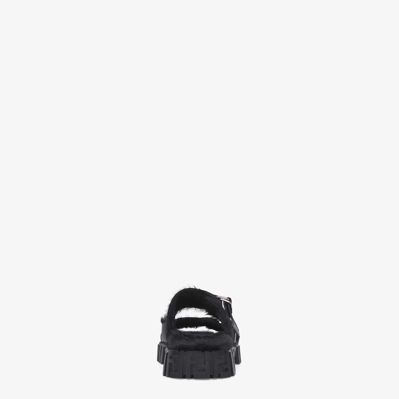 FENDI SANDALS - Black rabbit fur sandals - view 3 detail