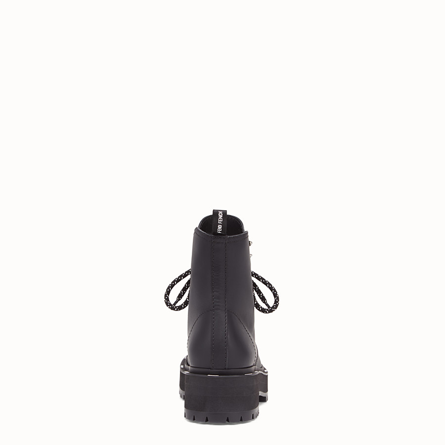 FENDI ANKLE BOOTS - Black leather biker boots - view 3 detail