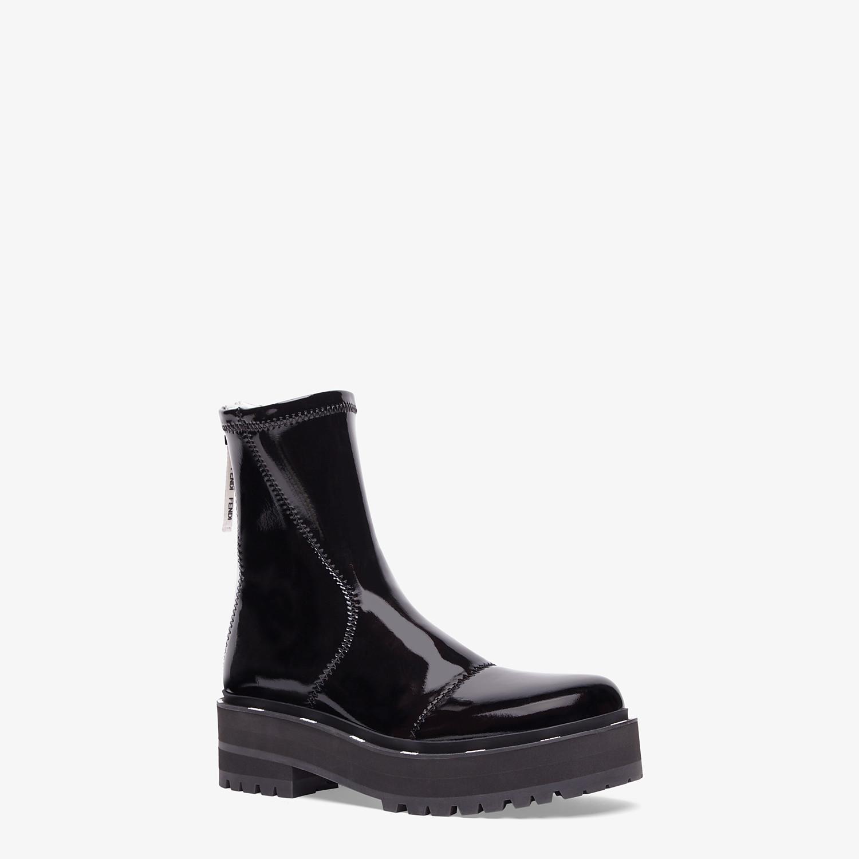 FENDI ANKLE BOOTS - Glossy black neoprene biker boots - view 2 detail