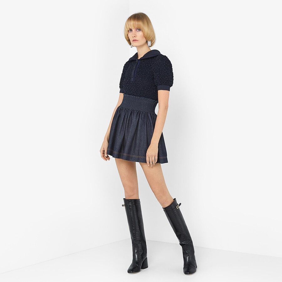 FENDI SKIRT - Blue chambray skirt - view 4 detail
