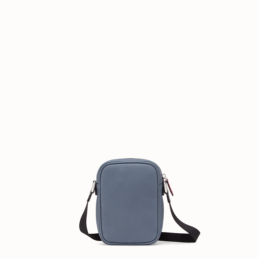 FENDI SMALL MESSENGER - Cross-body bag in gray Romano leather - view 3 detail