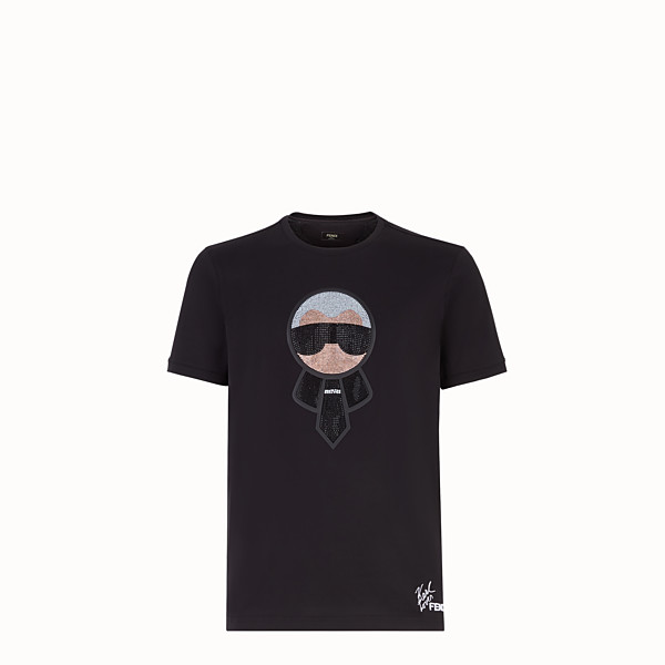 FENDI T-SHIRT - Black jersey T-shirt with crystals - view 1 small thumbnail