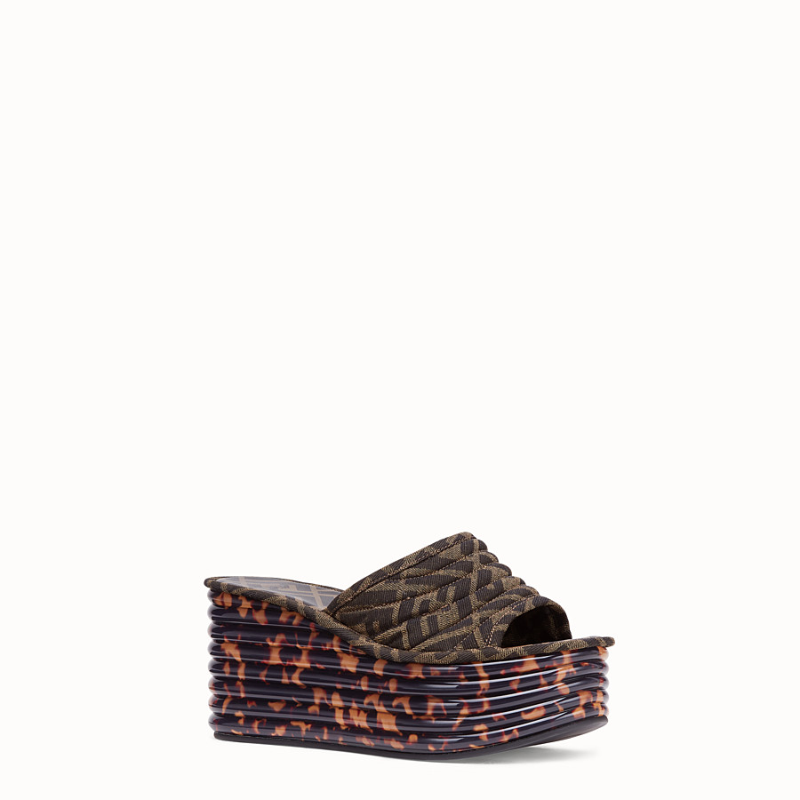 FENDI FLATFORM - Brown fabric sandals - view 2 detail