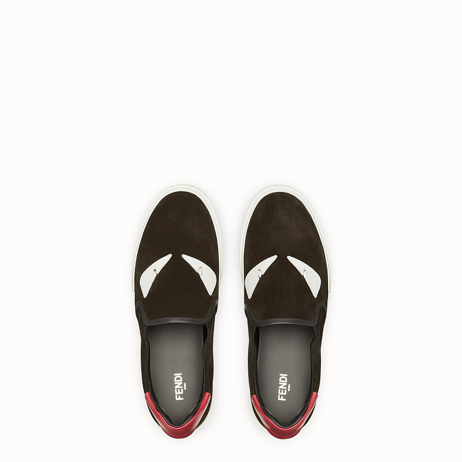 FENDI SNEAKERS - Slip-on en cuir noir - view 4 detail