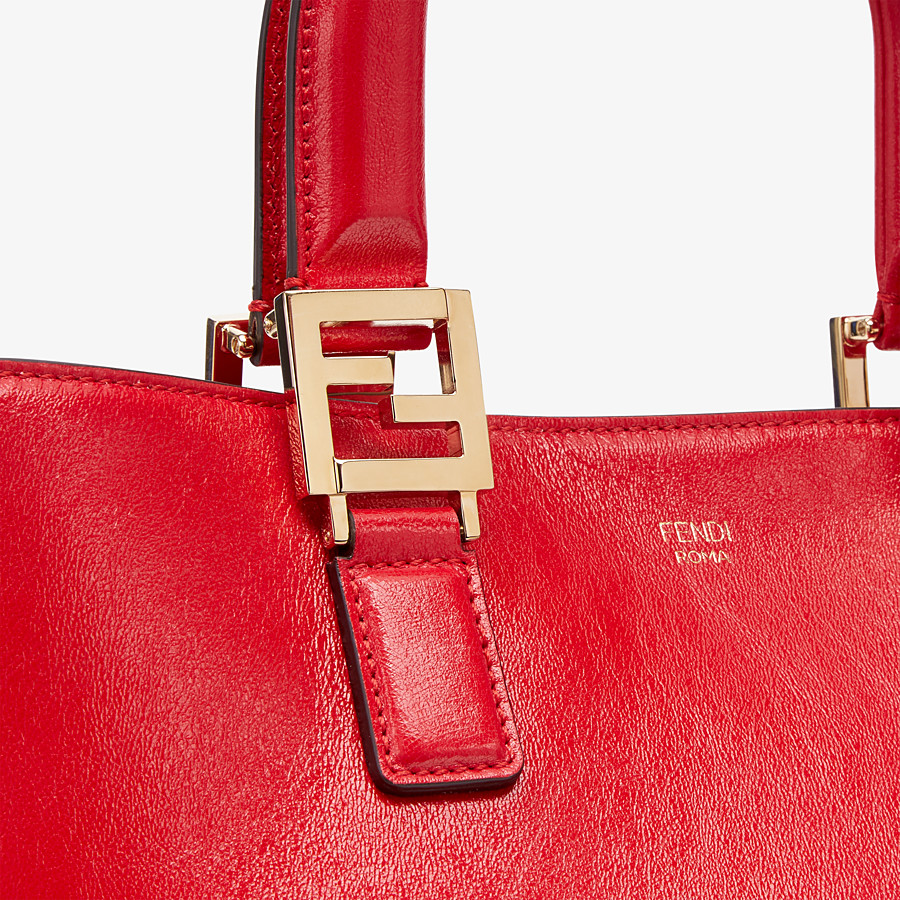 FENDI FF TOTE MEDIUM - Red leather bag - view 6 detail