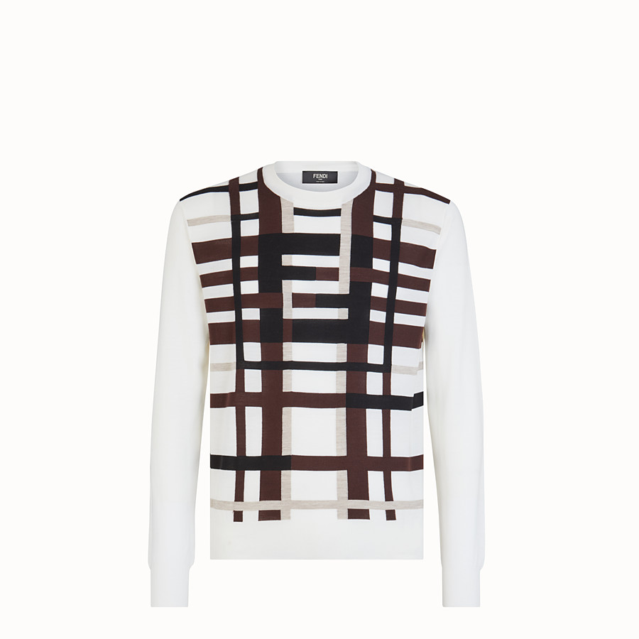 FENDI PULLOVER - White wool jumper - view 1 detail