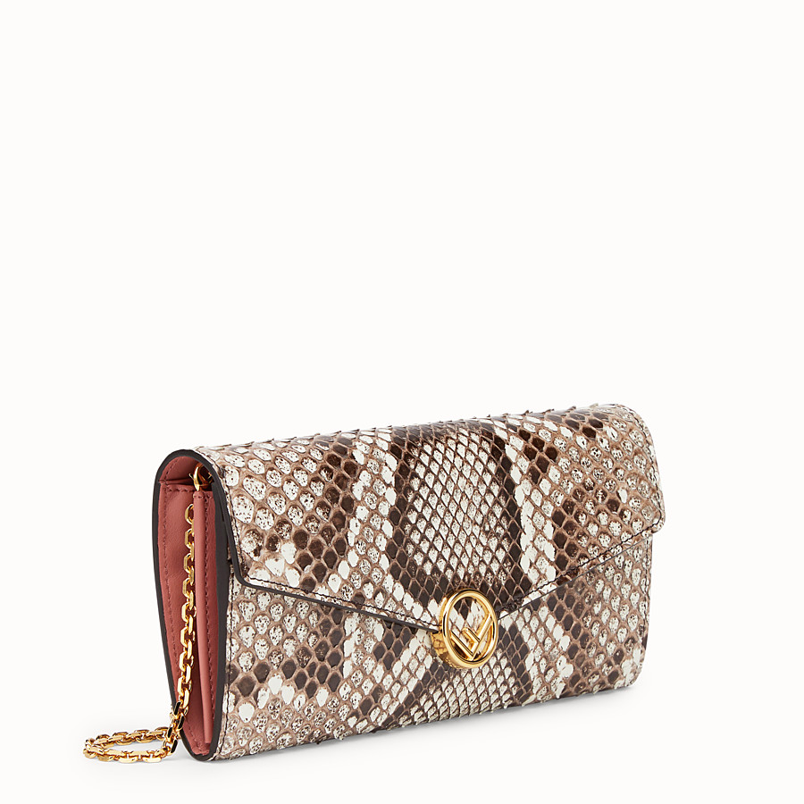 FENDI CONTINENTAL WITH CHAIN - Multicolour leather wallet with exotic details - view 2 detail