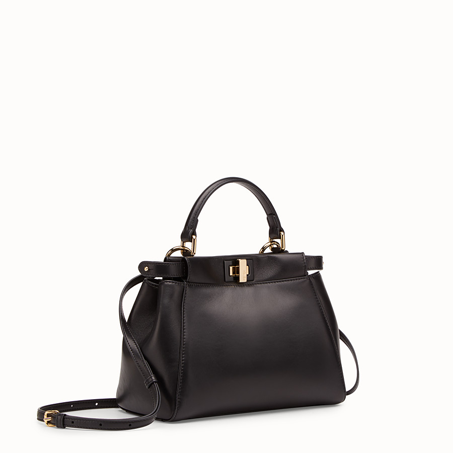 FENDI PEEKABOO ICONIC MINI - Black leather bag - view 2 detail