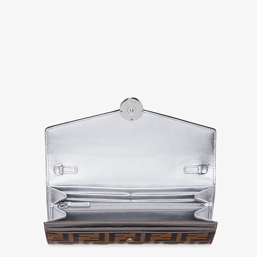 FENDI CONTINENTAL WITH CHAIN - Silver leather wallet - view 4 detail