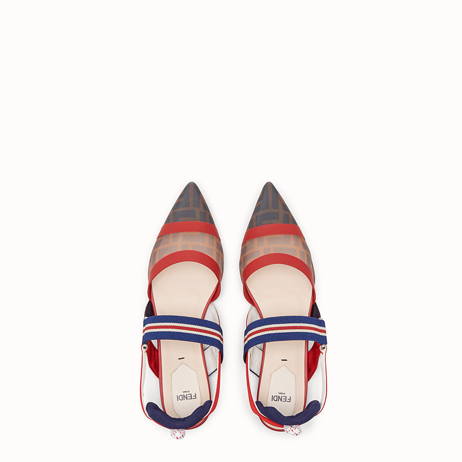 FENDI SABOTS - Multicolour tech mesh slingbacks - view 4 detail