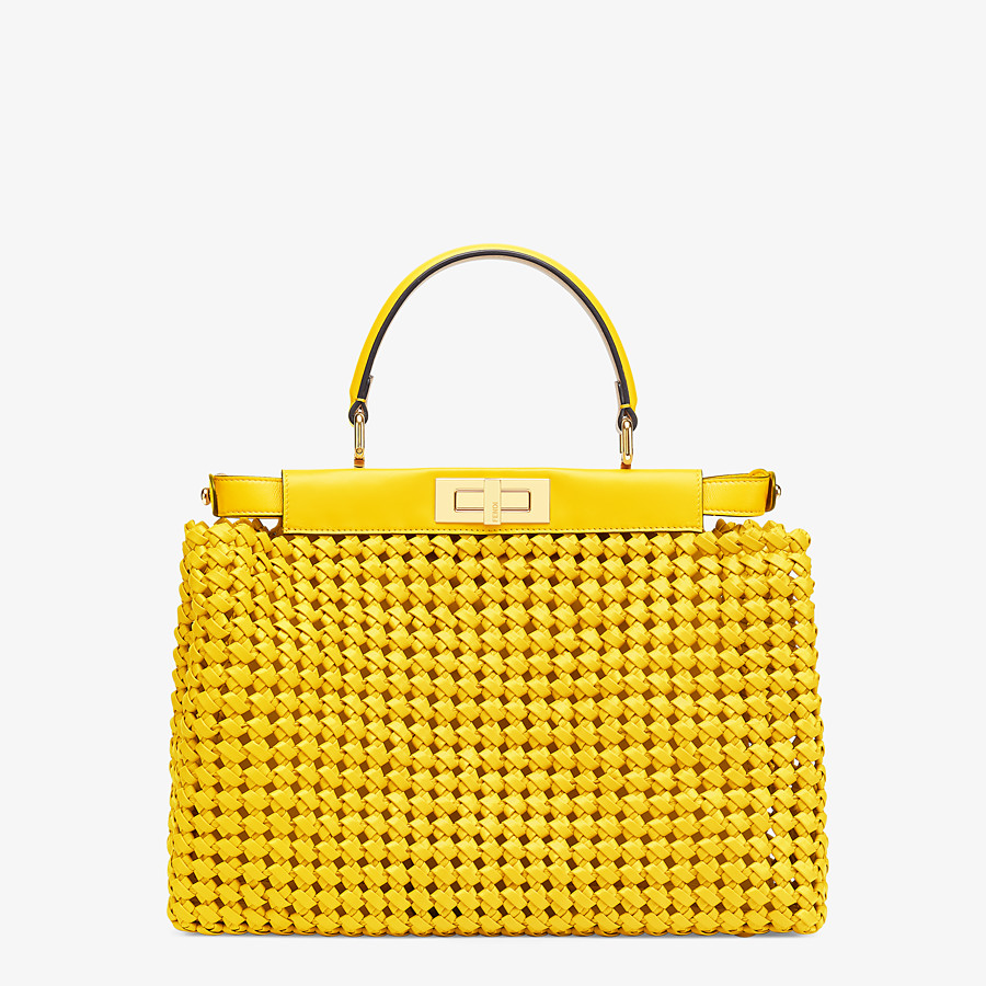 FENDI PEEKABOO ICONIC MEDIUM - Yellow leather interlace bag - view 4 detail