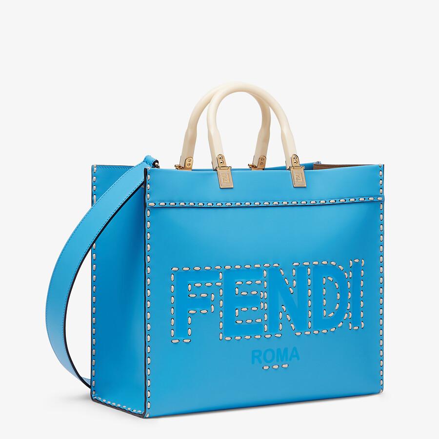 FENDI FENDI SUNSHINE MEDIUM - Blue leather shopper - view 3 detail