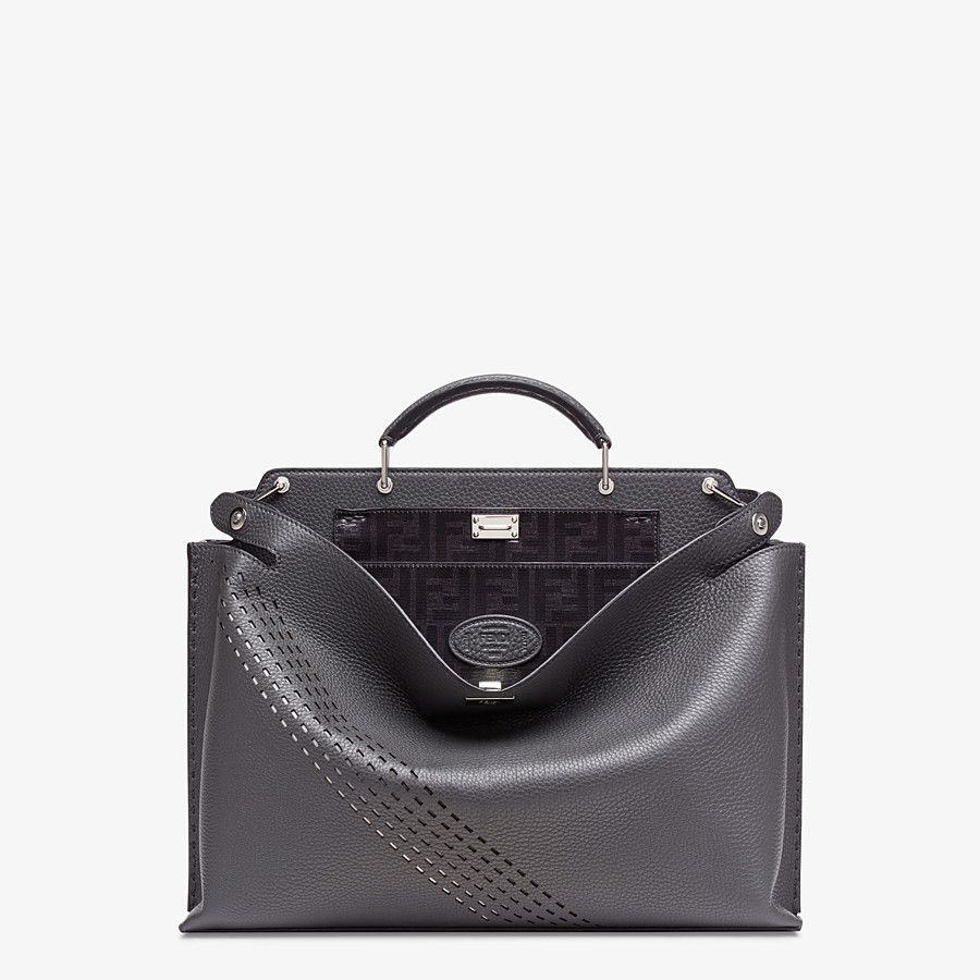 FENDI PEEKABOO ICONIC ESSENTIAL - Grey calf leather bag - view 1 detail