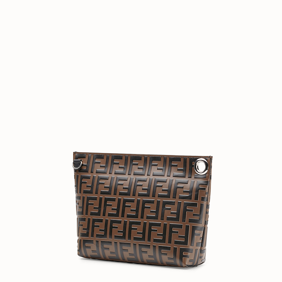 FENDI LARGE PYRAMID POUCH - Brown leather pouch - view 2 detail