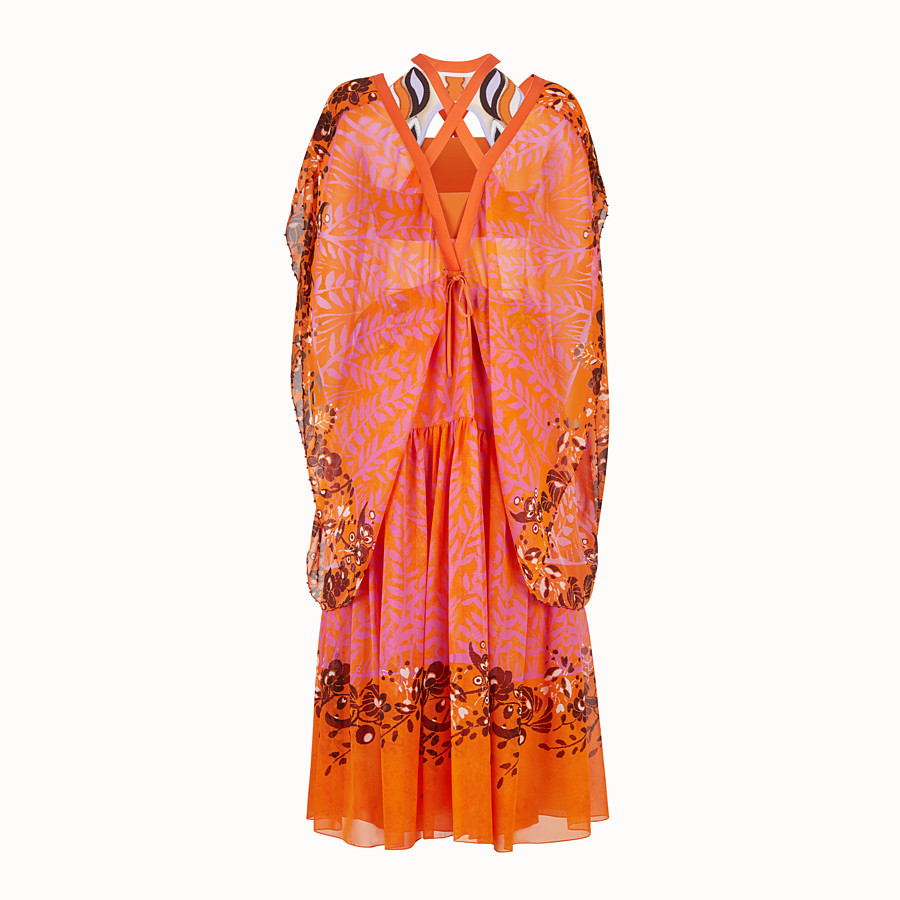 FENDI DRESS - Orange georgette dress - view 2 detail