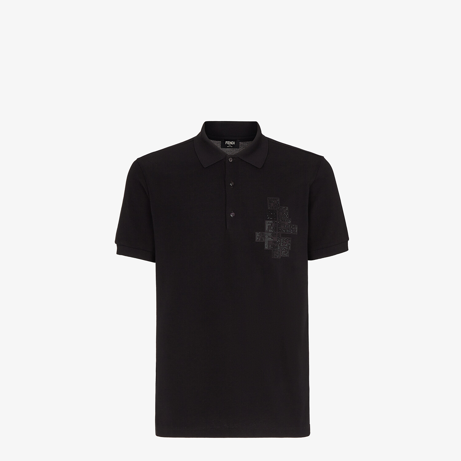FENDI POLO SHIRT - Black cotton polo shirt - view 1 detail