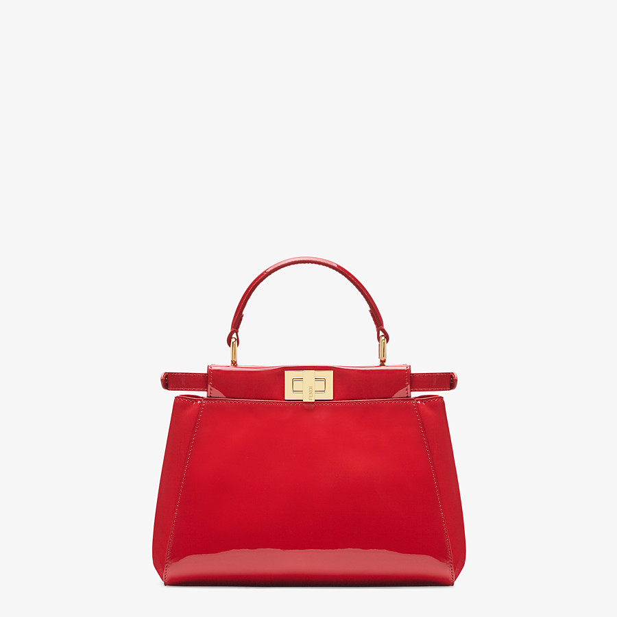 FENDI PEEKABOO ICONIC MINI - Tasche aus Lackleder in Rot - view 4 detail