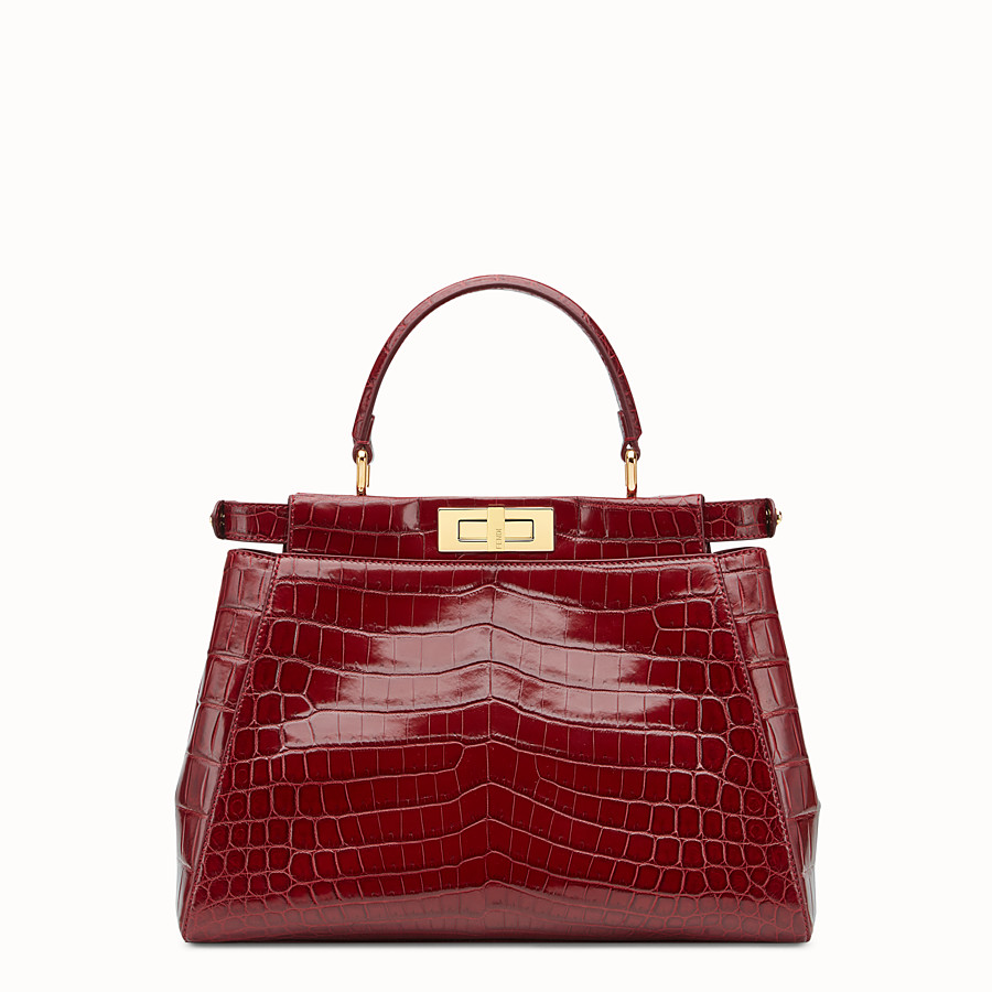 FENDI PEEKABOO REGULAR - Red crocodile leather handbag. - view 3 detail