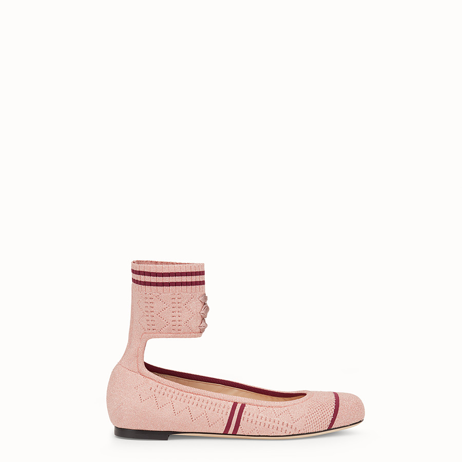 FENDI BALLERINAS - Pink fabric flats - view 1 detail