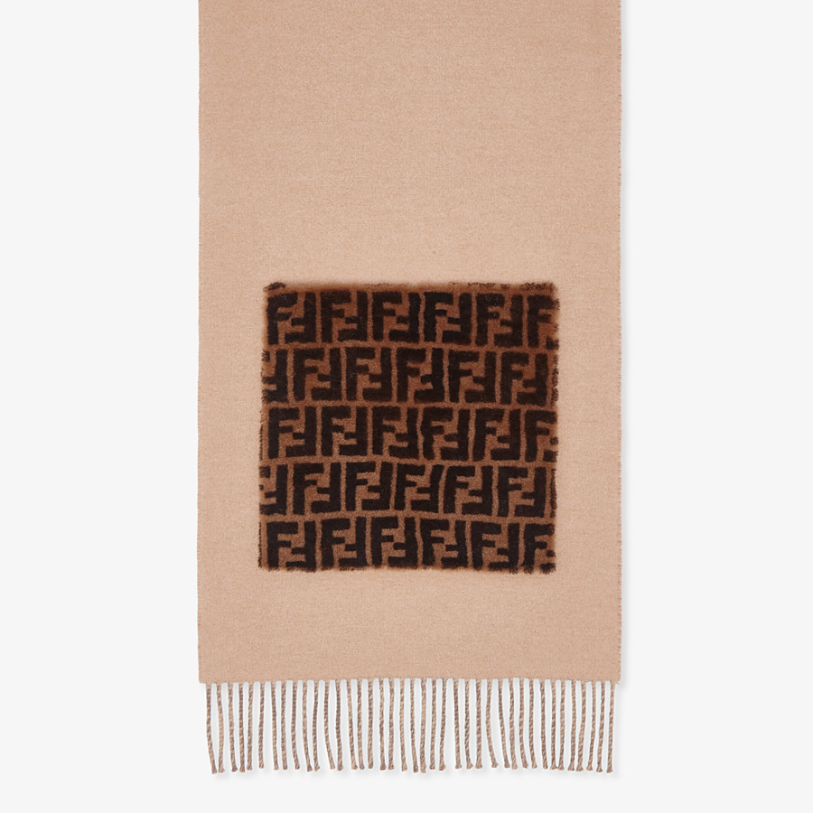 FENDI TOUCH OF FUR SCARF - Beige wool and cashmere scarf - view 1 detail