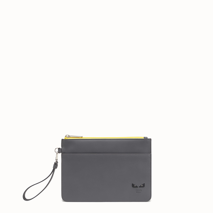 FENDI POUCH - Grey leather pouch - view 1 detail