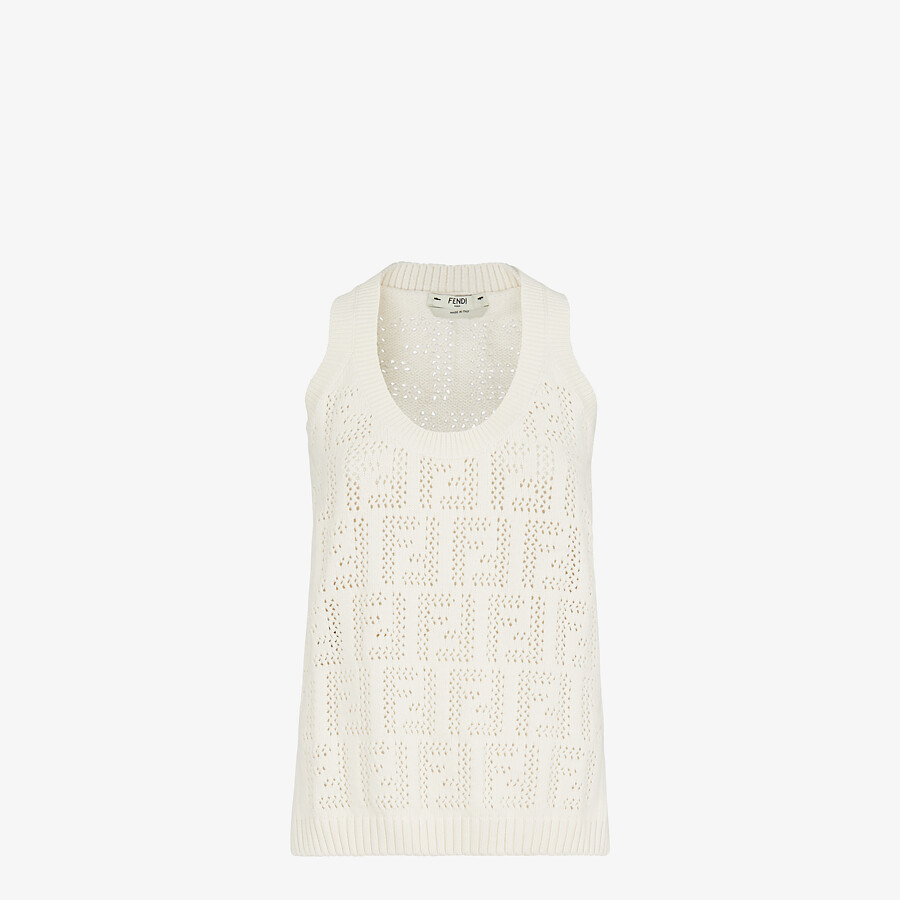 FENDI TANK TOP - White cotton tank top - view 1 detail