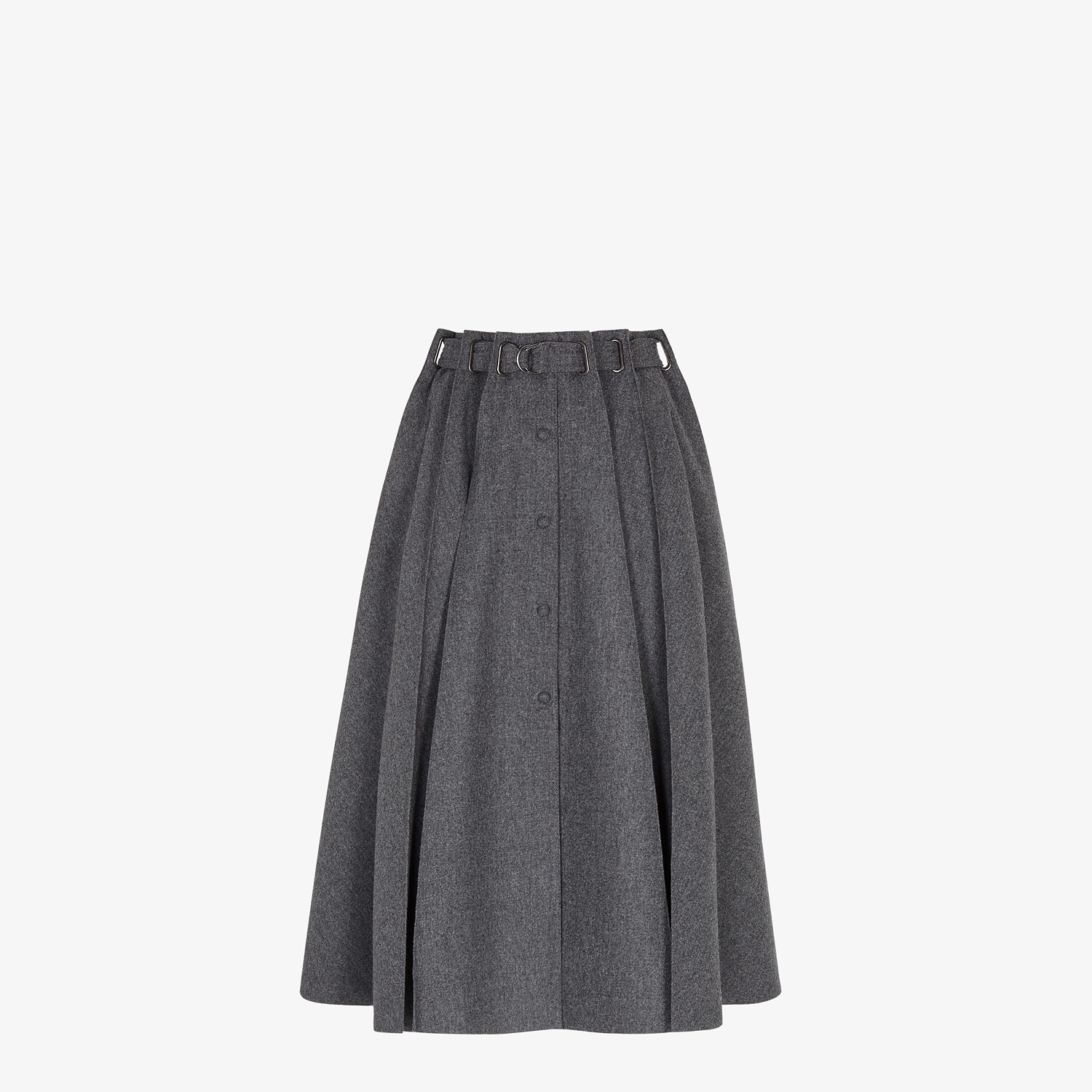 FENDI SKIRT - Gray cashmere and flannel skirt - view 1 detail