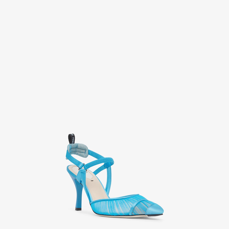 FENDI SLINGBACKS - Turquoise tulle and satin Colibrì slingbacks - view 2 detail