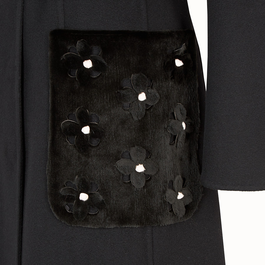 FENDI MANTEAU LONG - Manteau en cachemire noir - view 3 detail