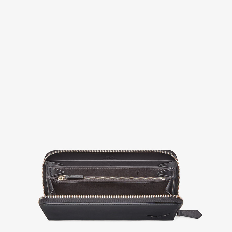 FENDI WALLET - Smooth black leather zip-around wallet - view 3 detail