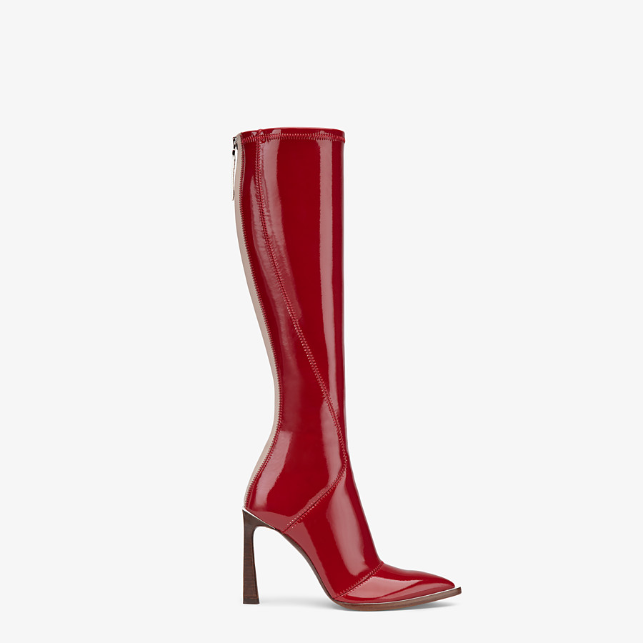FENDI BOOTS - Glossy red neoprene boots - view 1 detail