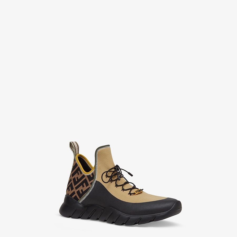 FENDI SNEAKERS - Multicolour tech knit high-tops - view 2 detail