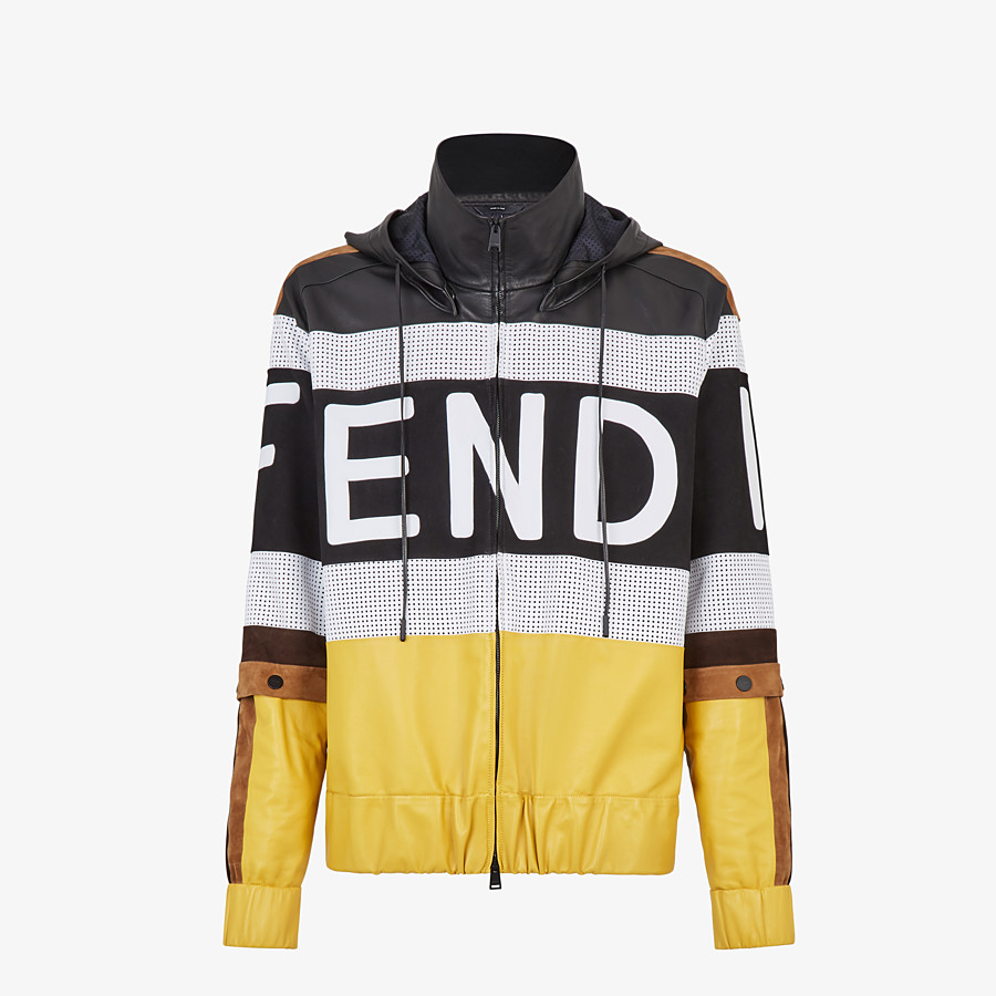 FENDI JACKET - Multicolour leather and suede jacket - view 1 detail