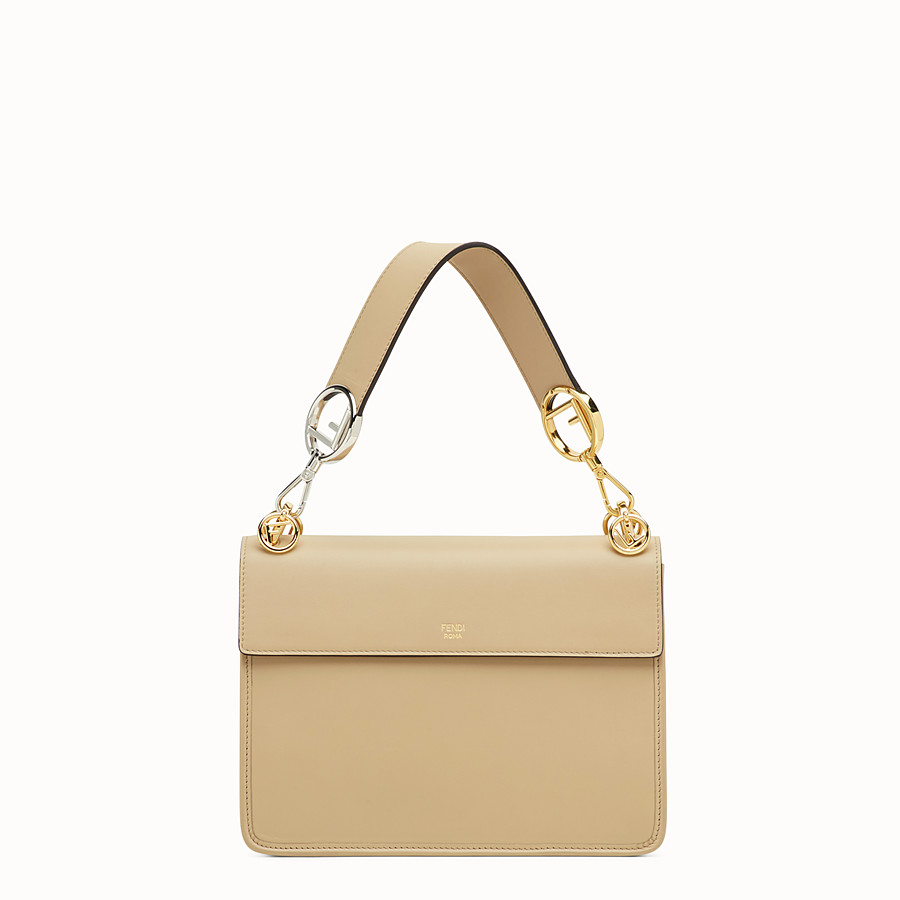 FENDI KAN I LOGO - Beige leather bag - view 3 detail