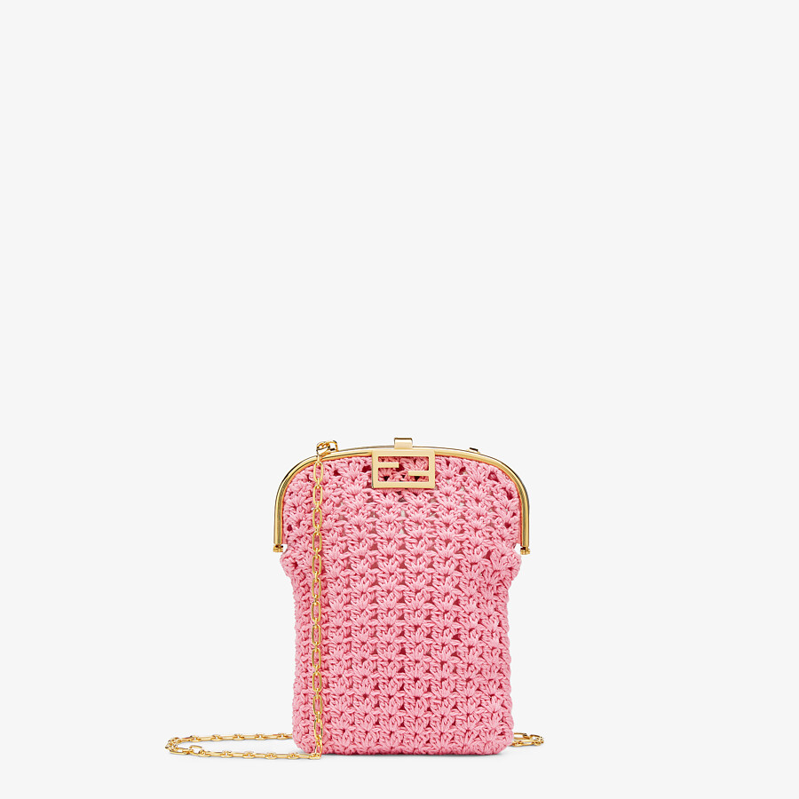 FENDI BAGUETTE PHONE BAG - Pink fabric mini-bag - view 1 detail