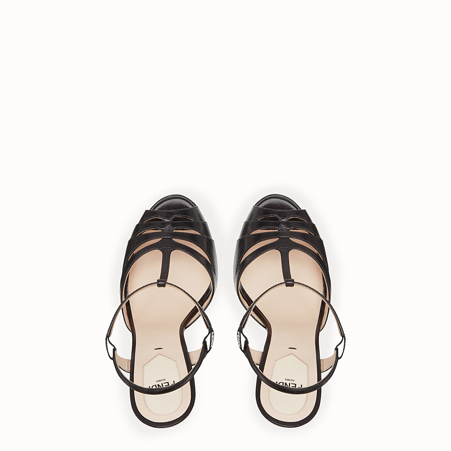 FENDI SANDALS - High-heeled sandals in black leather - view 4 detail
