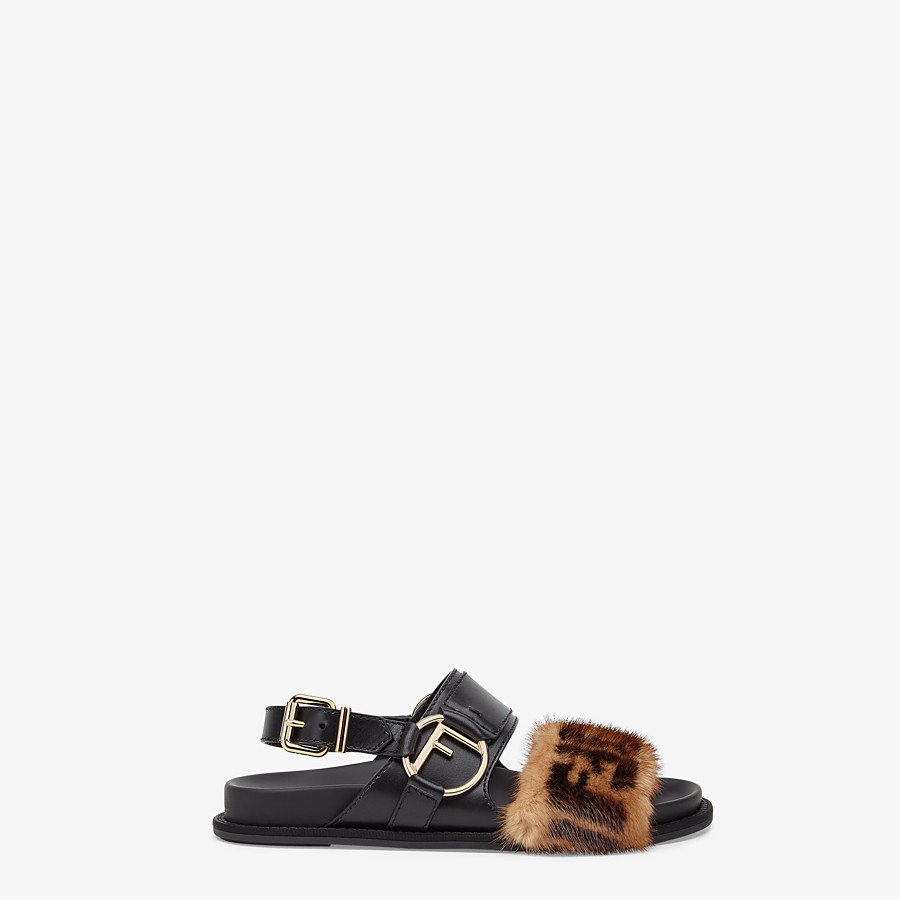 FENDI SANDALS - Black leather slingbacks - view 1 detail