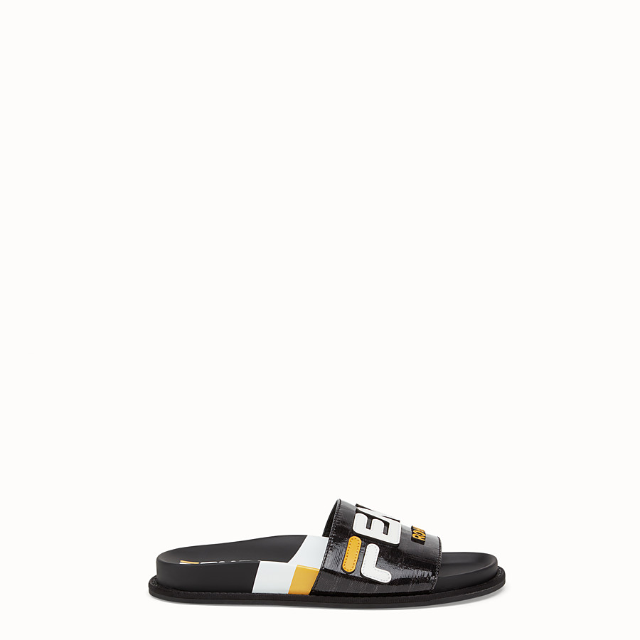 FENDI SLIDES - Black fabric slides - view 1 detail