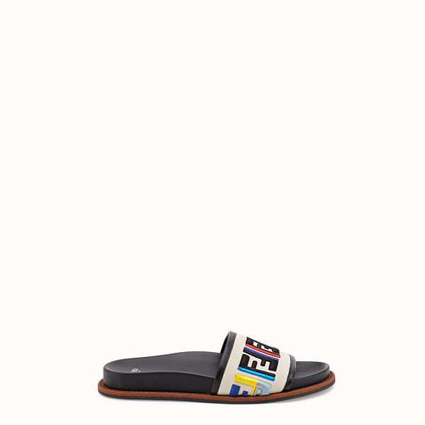FENDI SLIDES - White canvas flats - view 1 small thumbnail