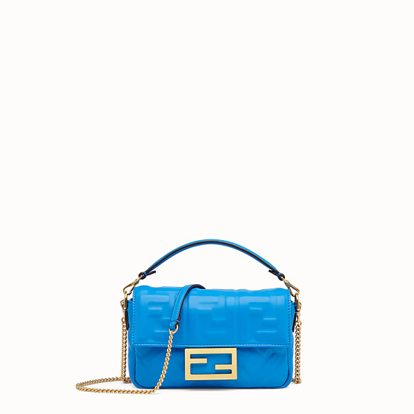 FENDI MINI BAGUETTE - Blue leather mini-bag - view 1 small thumbnail