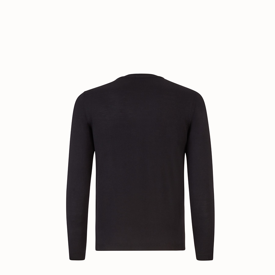 FENDI SWEATSHIRT - Black wool and fur pullover - view 2 detail