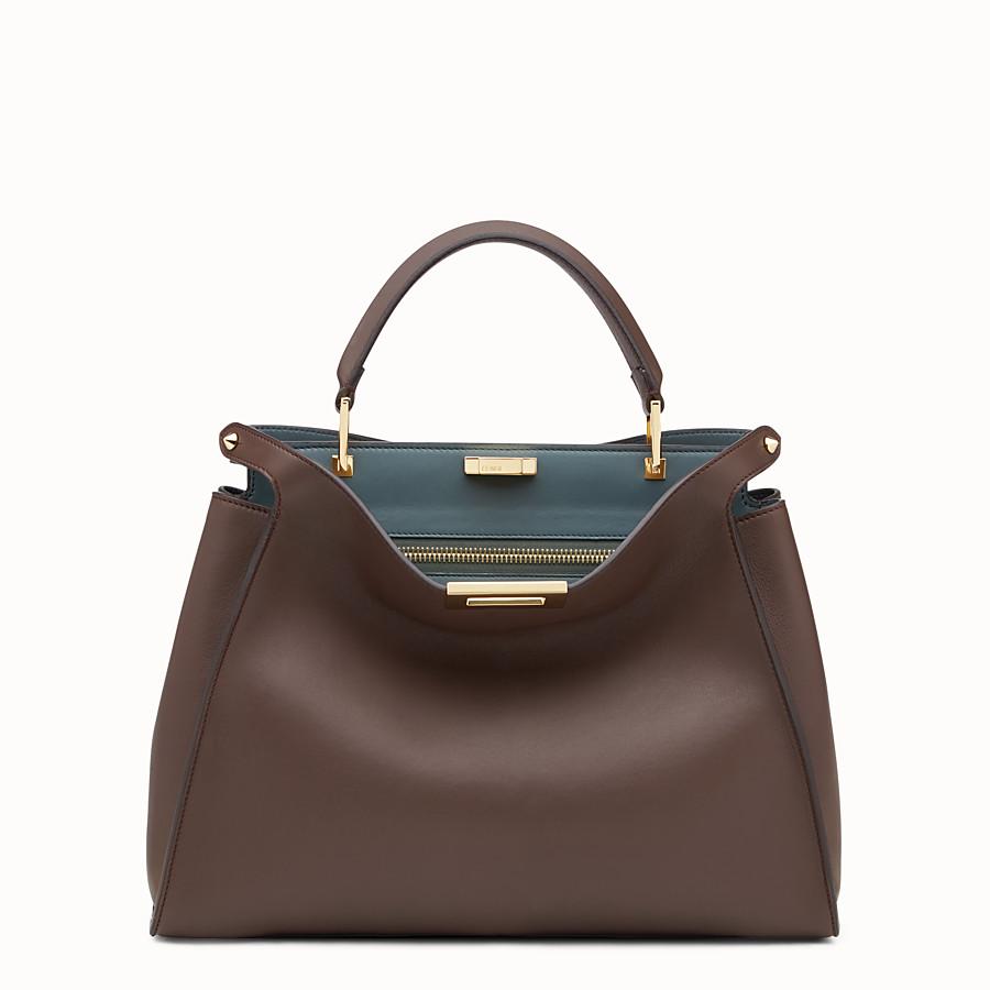 FENDI PEEKABOO ESSENTIAL - Brown and green leather handbag - view 1 detail