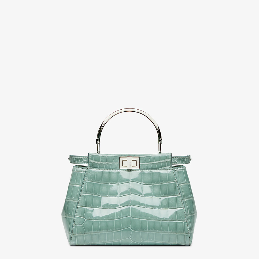 FENDI PEEKABOO ICONIC MINI - handbag in aqua green crocodile - view 1 detail